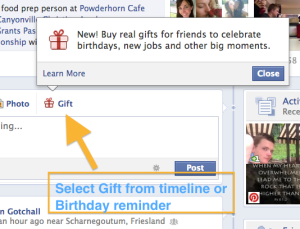 Select Facebook Gifts from Timeline or